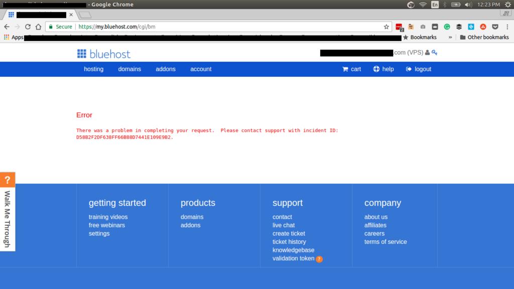 bluehost backup error