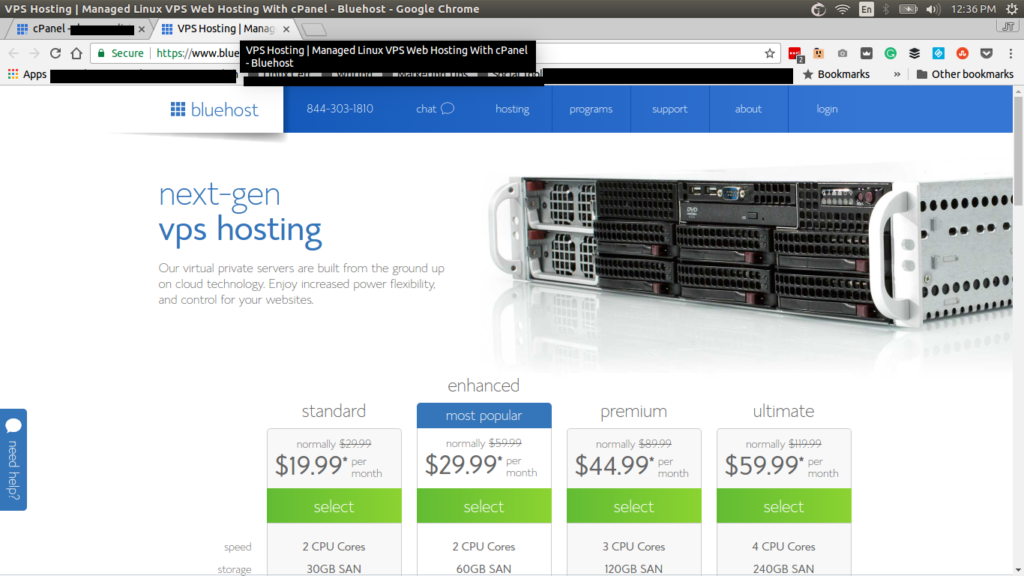 Bluehost Managed VPS page